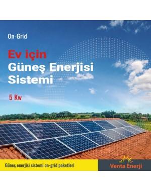 On Grid 5 Kw Güneş Enerjisi Sistemi - Ev için